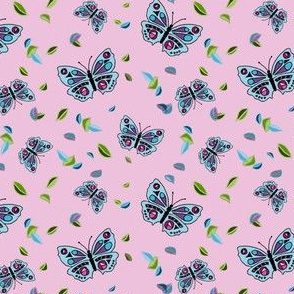 Butterflies Dancing in the Leaves Pink