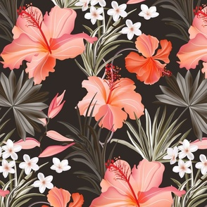 Hibiscus tropical palm leaves