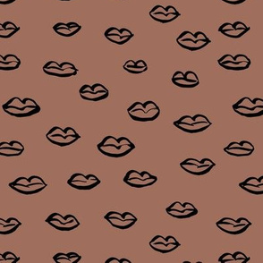 Kiss my lips romantic valentine love design minimalist flirt design chocolate brown