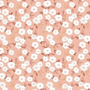 Little white daisies and leaves liberty print garden boho nursery coral rose