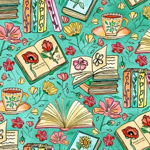 Blooms and Books - Teal Background - Small