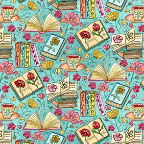 Blooms and Books - Blue Background - Tiny