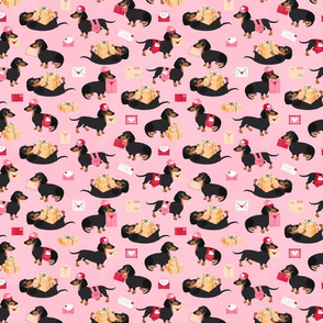 Special Delivery Dachshunds Pink Small Scale