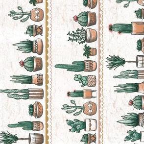 TEA TOWEL RR Phoenix Plant Lady Terracotta Pots with Cacti + Succulents // Desert Modernism // Mid-Century Modern // Cactus, succulent, plants, trees, geometric, adobe, patio, garden, terra cotta, floral, bloom, southwest, © ZirkusDesign