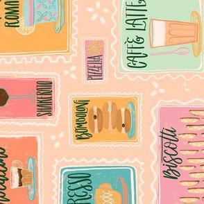 TEA TOWEL Pastel Cafe Retro Menu Stamps // Italian Coffee Bar Yumminess // Gelato, Biscotti, Latte, Macchiato, Cappucino, Mocaccino, Doppio, Pizzelle, Romano, Bomboloni, Affgogato, Shakerato, Torta, Caprese // Italy © ZirkusDesign