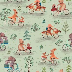 watercolor biking animals from australia - green