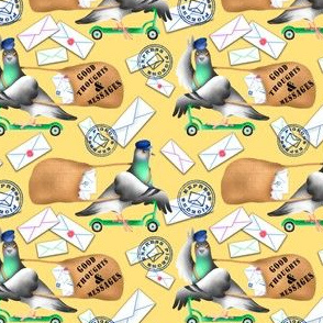 Pigeons Express (Yellow Background) – Small Scale