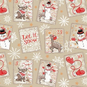 snail mail snowman and woodland friends stamps large scale