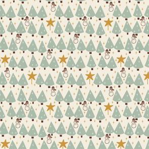 Simple Trees & Snowmen - Sage - Mini