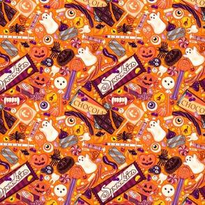 Creepy Halloween Candy on Orange Micro
