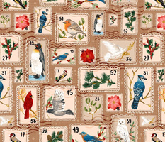 Winter Holiday Bird Postage Stamps // Christmas Cards + Letters // © ZirkusDesign Snail Mail Cardinal Blue Jay Penguin Owl Falcon Mistletoe Poinsettia Pine Holly Berries Dove