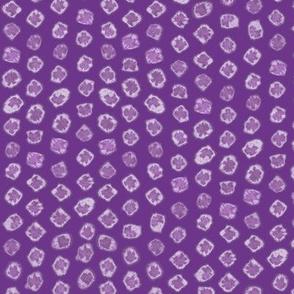 Shibori kanoko white dots over purple