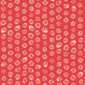 Shibori kanoko white dots over red