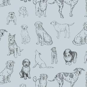 Big Dog Line Art on gray