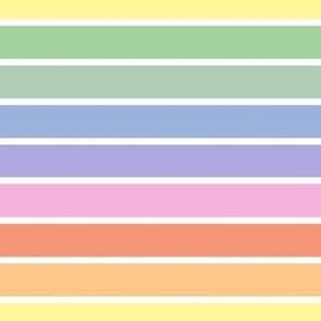Vintage white and bright pastel rainbow stripes horizontal (small)