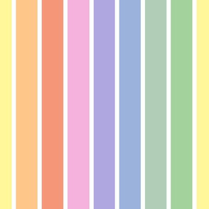 Vintage white and bright pastel stripes vertical (large)
