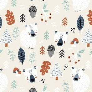 Woodland autumn pattern with cute bear