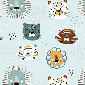 Cute tiger, lion, leopard baby print