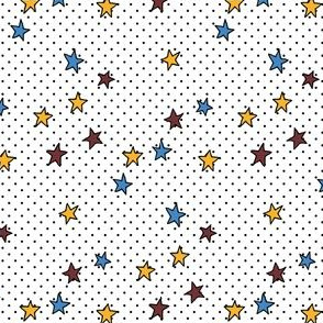 Dark Red, Blue and Yellow Stars and Tiny Black Polka Dots on White