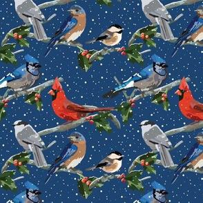 Winter Birds Blue