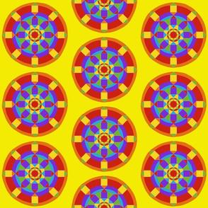 Sm. Rainbow Mandala on Yellow by DulciArt,LLC