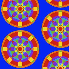 Lg. Rainbow Mandala on Blue by DulciArt,LLC