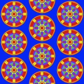 Sm Rainbow Mandala on Blue by DulciArt,LLC