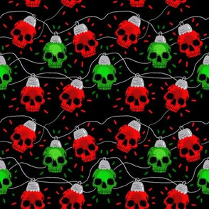 Red and Green Skull Christmas Lights small scale