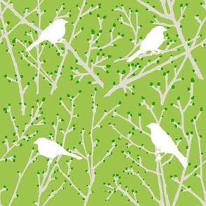 branchy bird - green/sand