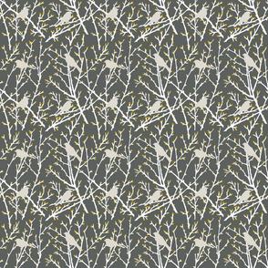 branchy bird - gray/white/gold