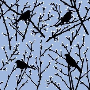 branchy bird - sky/black/white