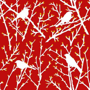 branchy bird - red/gold