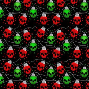 Red and Green Skull Christmas Lights extra-small scal