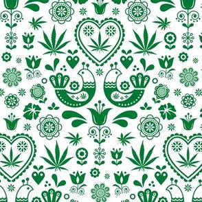 Cannabis folk green on white