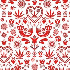 Cannabis folk red on white