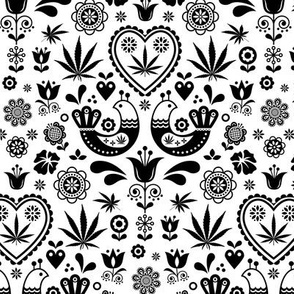 Cannabis folk black on white