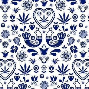 Cannabis folk blue on white