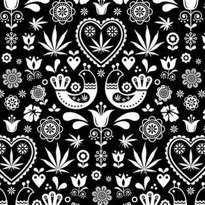Cannabis folk white on black