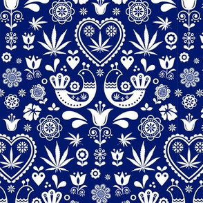 Cannabis folk white on blue