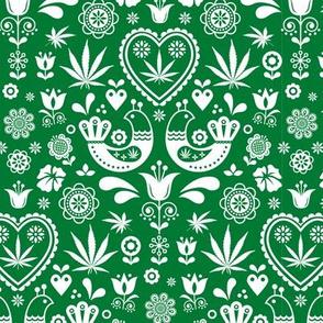 Cannabis folk white on green