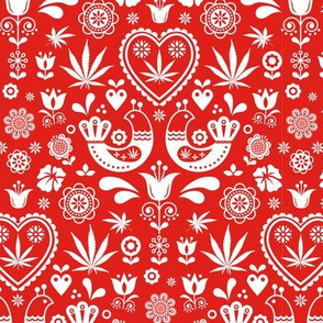 Cannabis folk white on red