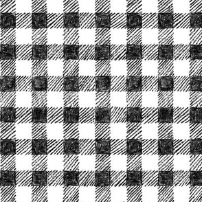 """5/8"""" black and white crayon gingham"""