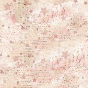 Abstract Painting Watercolor Pink and Cream Stars, 110320 2