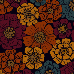 Large-Scale Burgundy, Rust, Mustard, Teal Floral