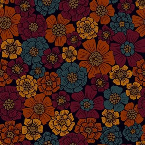 Small-Scale Burgundy, Rust, Mustard & Teal Floral