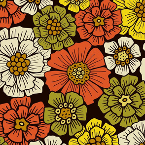 Large-Scale Retro 1960s 1970s Floral Pattern