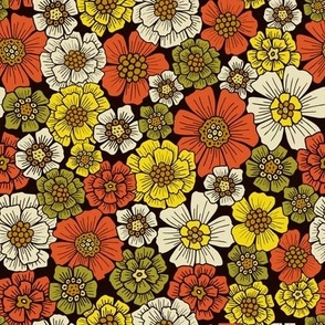 Small-Scale Retro 1960s 1970s Floral Pattern