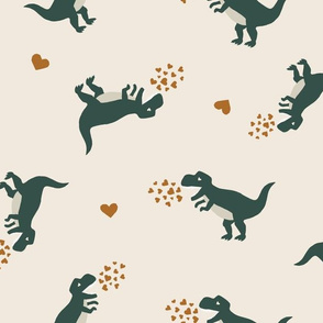 Large // Valentines Day Boys Dinosaurs in Green