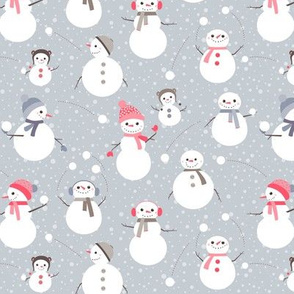 Snowmen on grey - small