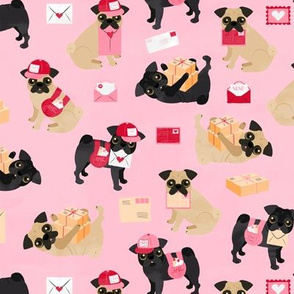 Special Delivery Pugs - Pink Small Scale
